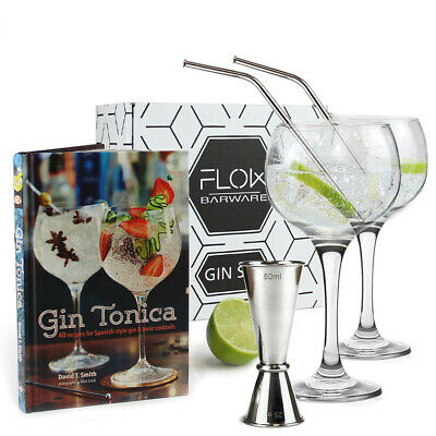 Gin Glass Gift Set - Balloon Gin Glasses Cocktail Recipe Book G&T Gift Boxed Set