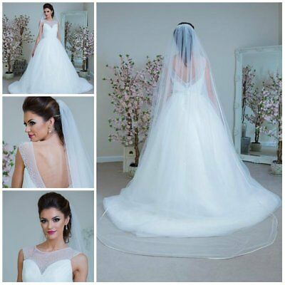 1 Tier Crystal Cathedral Long Wedding Veil Satin Edge Bridal Bride Ivory White