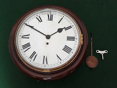 STUNNING ANTIQUE MAHOGANY CHAIN  FUSEE STATION/OFFICE WALL CLOCK 1920s