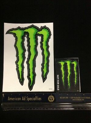 """Two Unused Monster Energy Logo Sticker Decals 9""""x6"""" & 4""""x3"""" Y1 AM"""