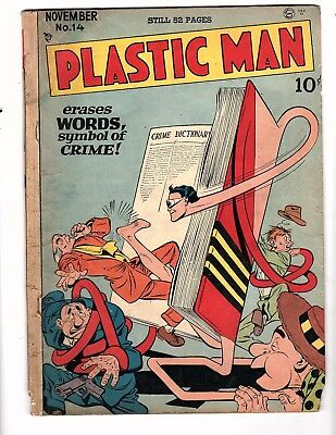 Plastic Man #14  Quality 1948   Good But Missing  Pgs.  Creative Jack Cole Art