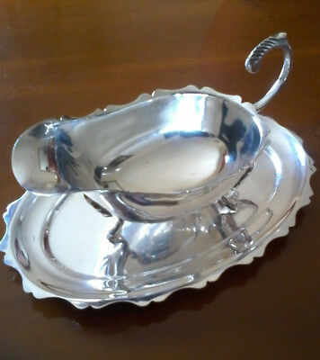 Vintage Silver Plated Sauce / Gravy Boat & Matching Drip Stand