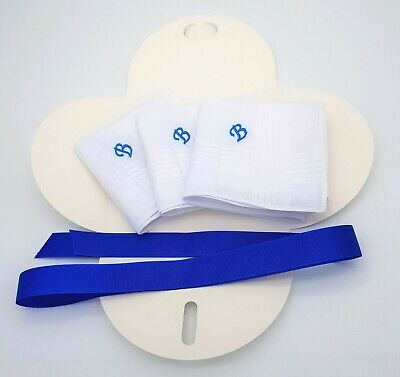 Boxed 3 Embroidered Personalised Handkerchief Initial Name Letter Monogram