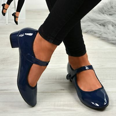 New Womens Ladies Low Block Heel Patent Pumps Casual Work Shoes Size Uk