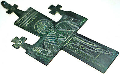 Large Byzantine Bronze Cross Pendant