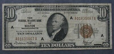 1929 Federal Reserve Bank BOSTON $10 National Currency Note