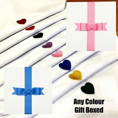 Boxed 3 100% Cotton Embroidered Handkerchief Heart Any Colour Hankies Men Ladies