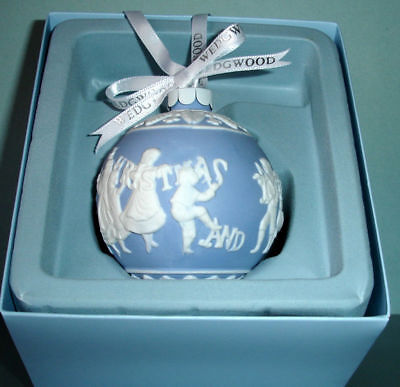 Wedgwood Merry Christmas & Happy New Year Ball Ornament Blue & White New in Box