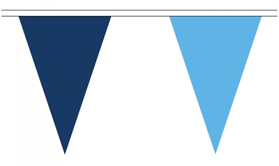Navy Sky Blue 20M Triangle Flag Bunting - Large 54 Flags - Triangular