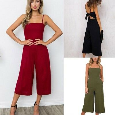 Womens Summer Backless Sleeveless Wide Leg Jumpsuits Long Playsuits Culotte Lot