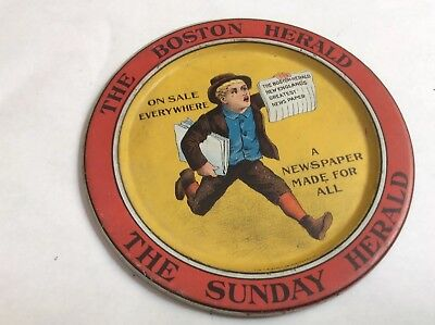 Early Boston Herald Tin Advertising Tip Tray-Near Mint Condition