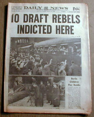 1940 NY Daily News WW II newspaper w headline US ANTI WAR DRAFT DODGERS INDICTED