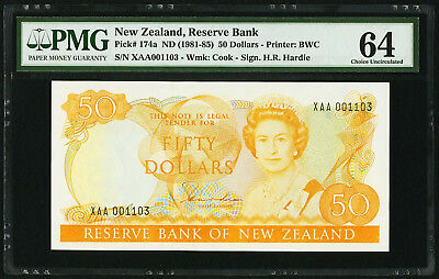 "PMG-64"" SCARCE 1981-85 New Zealand 50 Dollars P-174a ""XAA001103"""