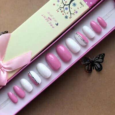 Hand Painted False Nails Oval (Or Any Shape) Pink White Glitter Press on nails