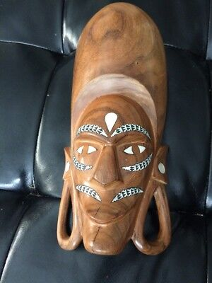 Antique primitive wood carved mask native  Solomon Island sculpture decor