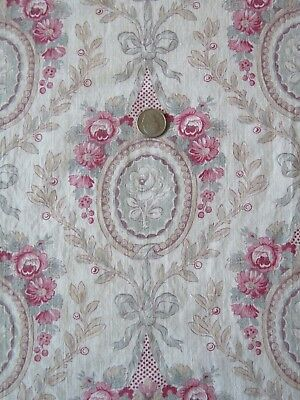 """Pretty Antique (1910) French Roses & Bows Cotton Fabric~Frame Layout~65""""LX24""""W"""