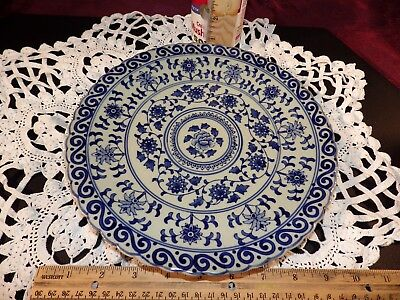 Chinese Porcelain Blue and White Decorative Plate Qing Dynasty Qianlong Period 2