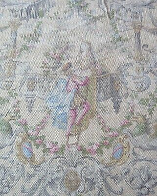 "French Antique ""Romeo & Juliette"" Printed Cotton Barkcloth c1870-1880~32""LX31""W"