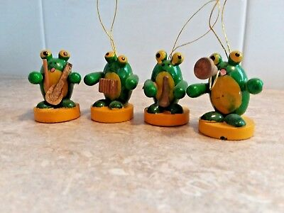 Vintage Frog Band Tiny Wooden Christmas Ornaments Mini Ornaments Bugle Violin