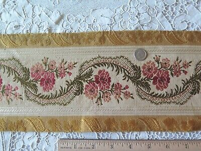 "Antique (1870) French Roses & Ribbons Silk Border Fabric~2yds28""LX5""W"