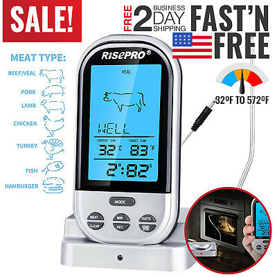 Wireless Meat Thermometer Oven Smoker BBQ Grill Remote Digital Food Probe Steak