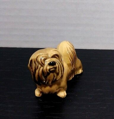 Vintage Ceramic or Porcelain Miniature Shih Tzu Figurine