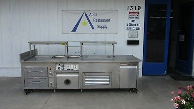 Serving Line w/Steam Wells + Cold Compartment + Warming Cabinet #3279