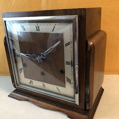 ANTIQUE ART DECO PERIVALE DELUXE ALL BRITISH CLOCK, WESTMINSTER CHIME, Runs