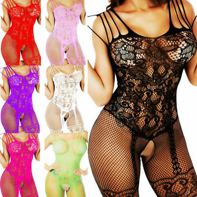 Fishnet Body Stockings Sleepwear Adult Bodysuit Women's Lingerie Babydoll New US