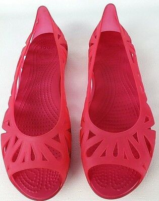 c7f3e6ff790352 Crocs Women s Shoes Jelly Slip On Flats Pink Size 10 Cutouts Open Toe