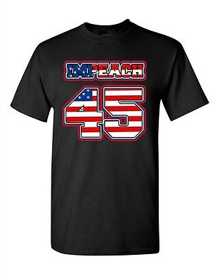 Impeach 45 President Donald USA American Flag Political DT Adult T-Shirt Tee