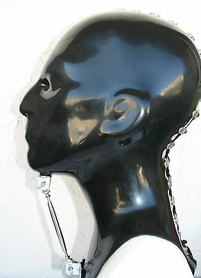 Latexmaske schwarz, Schnürung, Latex-Maske, black rubber mask,1,1A