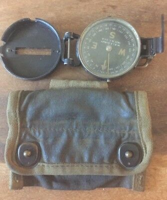 Us Army Lensatic Compass W. & L.e Gurley Ww2 Working Canvas Belt Bag
