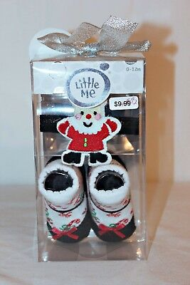 Little Me Infant Fancy Santa Headwrap and Booties Girl 0-12mths Holiday Set