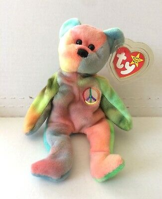 1996 TY BEANIE Baby Peace Bear Great Condition PVC Pellets China WITH TAGS 6f982ec3b2e