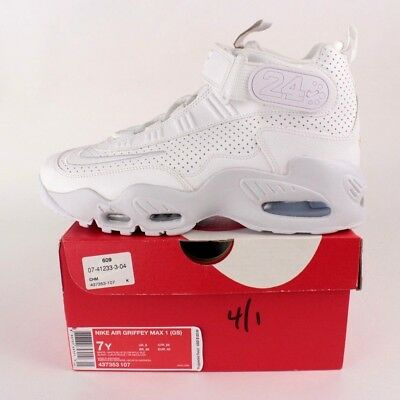 timeless design 2237f da876 Nike Air Griffey Max 1 GS Big Kids Size 6Y White Basketball Shoes 437353 107