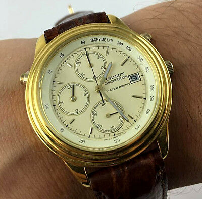 Orologio Orient Hfb901,70 Chronograph Watch New Old Stock Vintage 39Mm Japan