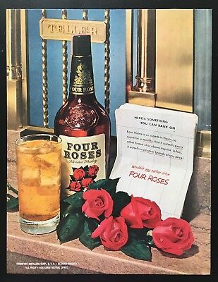 1951 Four Roses whiskey bank teller 1 bottle 1 glass whisky vintage print ad