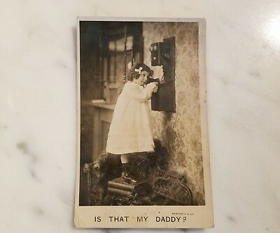"""Picture Postcard Little Girl On Phone """"IS THAT MY DADDY?"""" Posted 1908"""