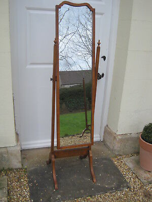 Antique Walnut Cheval Mirror on Square Cut Supports and Swept Feet