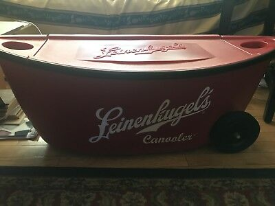 "Leinenkugel's Beer ""Canooler"" Can Cooler Red Canoe Boat RARE NEVER USED."