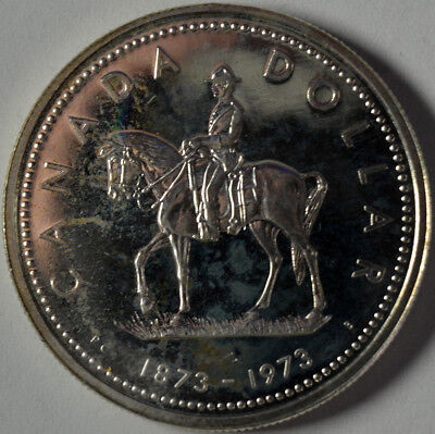 Silver Canada Dollar 1873 - 1973 Mountie  See Photos for Condition