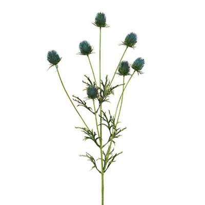 Artificial Plastic Sea Holly Thistle Flower Spray - Blue