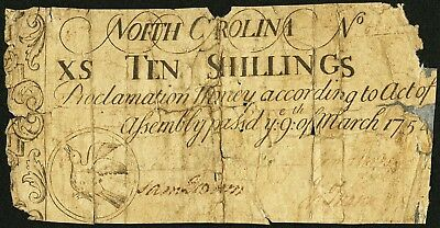 1754 Ten Shillings (10s) North Carolina Colonial Currency, March 9 Issue