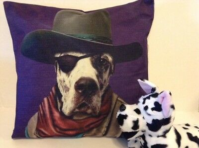 New Harlequin Great Dane dog with hat & eye patch Decorative Linen Pillow Cover