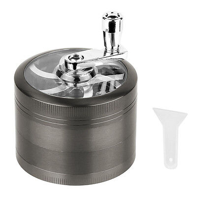 4 Piece Magnetic 2.5 Inch Grey Tobacco Herb Grinder Spice Aluminum With Scoop US