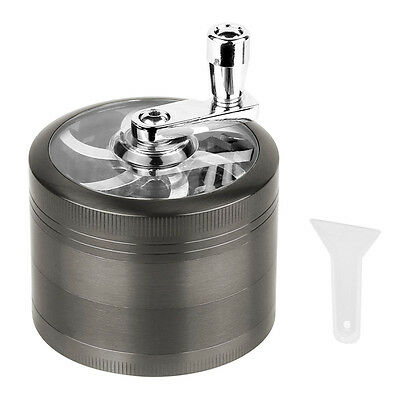 4 Piece Magnetic Grey Tobacco Herb Grinder Spice Zinc Alloy With Scoop 2.5 Inch