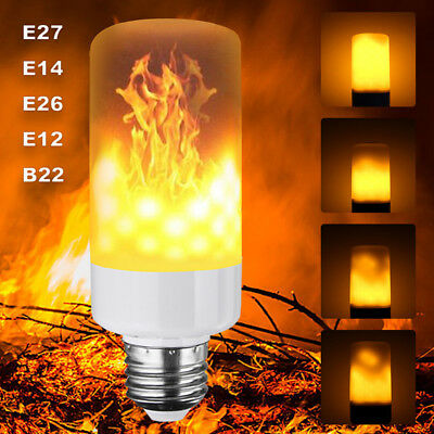 E27 B22 LED Flame Fire Effect Simulated Nature Light Bulb Decor Atmosphere Lamp