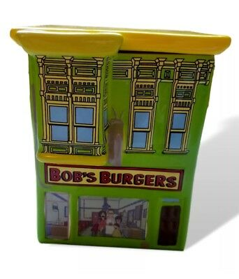Bob's Burger Restaurant Glass Cookie Jar Removable Lid New Boxed Licensed