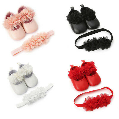 Cute Newborn Baby Girl Flower Leather Toddler First Walkers Kid Shoes+Hairband L